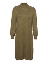 Mersin Highneck Knit Dress Knælang Kjole Grøn Minus