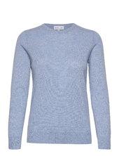 Basic Sweater Strikket Trøje Blå Davida Cashmere