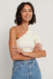 Na-kd Trend One Shoulder Top - Offwhite