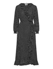 Niro Maxi Wrap Dress Knælang Kjole Sort Just Female