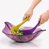 Salatskål Incl. Salatbestik - Lilla/grøn