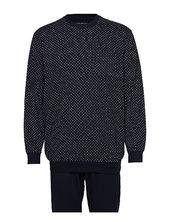 Pyjama Long Pyjamas Nattøj Blå Schiesser
