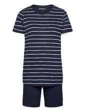 Pyjama Short Pyjamas Nattøj Blå Schiesser