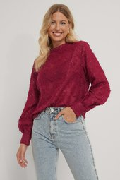 Na-kd Party Shirred High Neck Flower Blouse - Burgundy