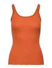 Silk Top Regular Length W/ Elastic Top Ærmeløs Top Orange Rosemunde