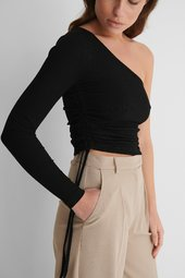 Na-kd Reborn One Shoulder Top - Black