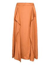 Yulieiw Skirt Knælang Nederdel Orange Inwear