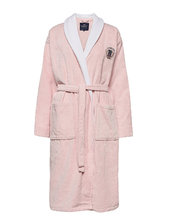 Lexington Cotton Velour Contrast Robe Morgenkåbe Badekåbe Lyserød Lexington Home