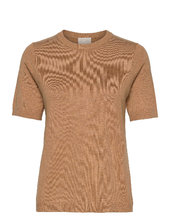 Pamela Knit Tee T-shirt Top Brun Minus