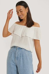 Sparkz Off Shoulder Top - Offwhite