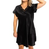 Lady Avenue Pure Silk Nightgown With Lace