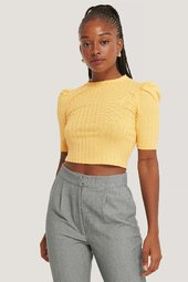 Na-kd Puff Sleeve Cropped Ribbed Top - Yellow