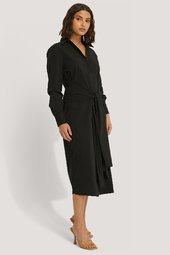 Na-kd Classic Tie Front Shirt Dress - Black