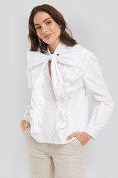 Na-kd Trend Pussy Bow Frill Blouse - White