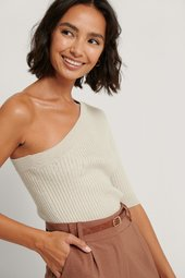 Na-kd Trend One Shoulder Top - Beige