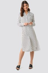 Na-kd Classic Midi Striped Shirt Dress - White