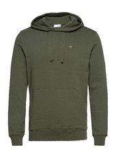 Elm Hood Basic Badge Sweat - Gots/vegan Hoodie Trøje Grøn Knowledge Cotton Apparel
