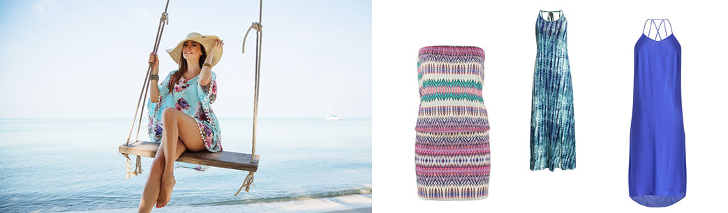 Flot dame og smukke strandkjoler