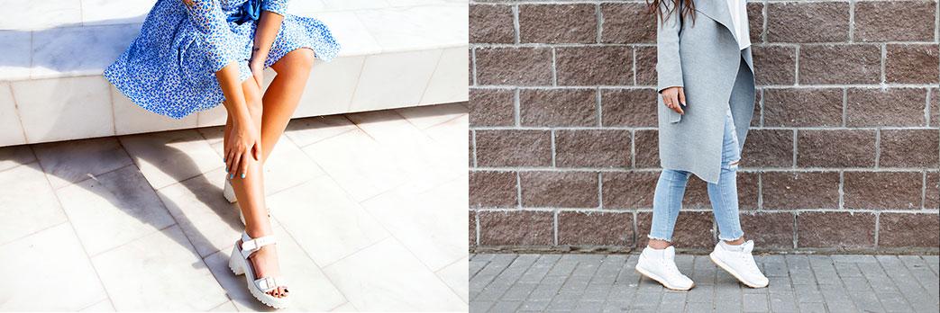 Dameben i smarte hvide sko