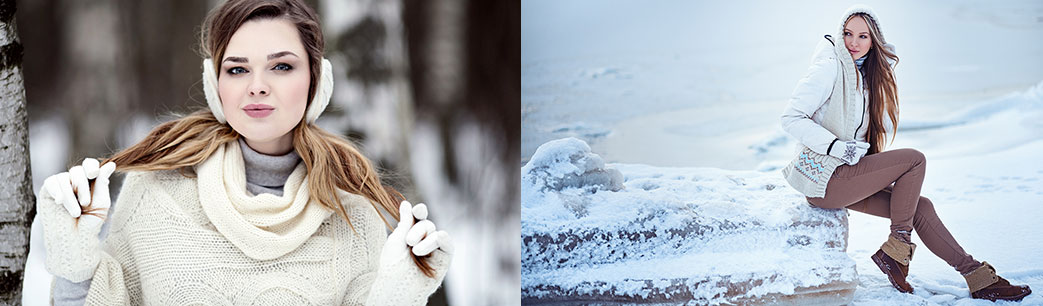 Damer i smart vintertøj