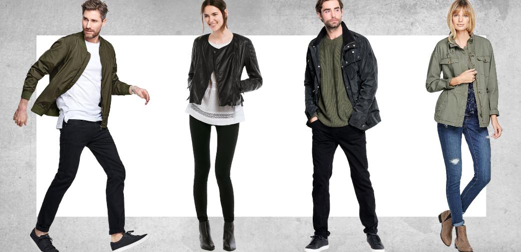 Collage af mennesker med overgangsjakke