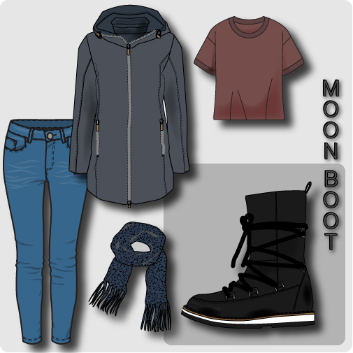 Moon boot collage