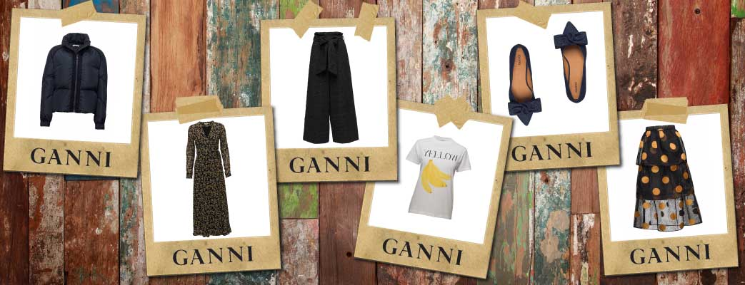 Billedcollage med tøj fra Ganni