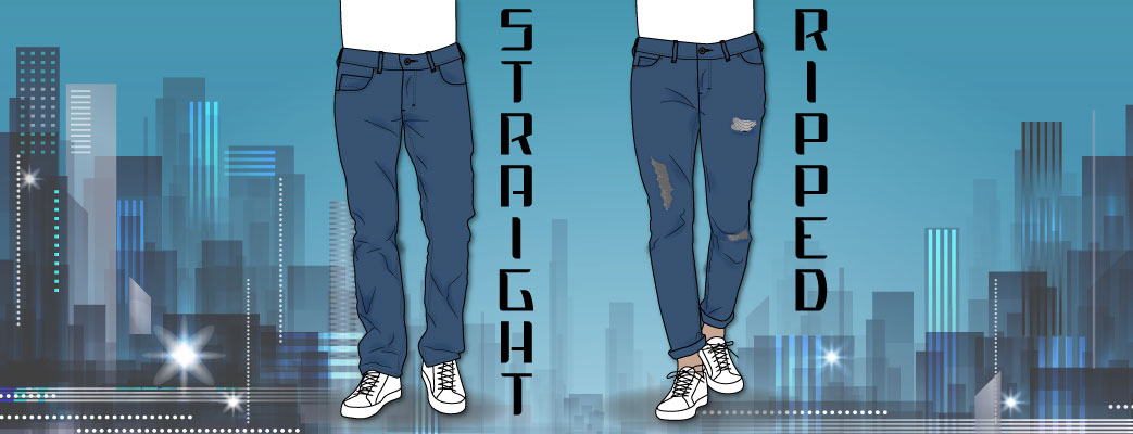 Jeans til mænd, straight og ripped