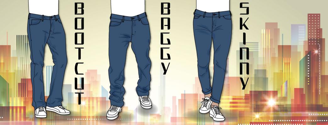Herre jeans, bootcut, baggy og skinny