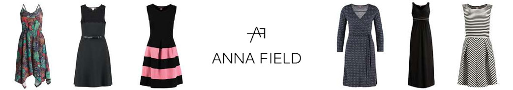 Anna Field logo og kjoler