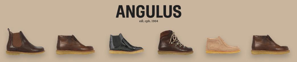 Angulus støvler på brun baggrund med logo