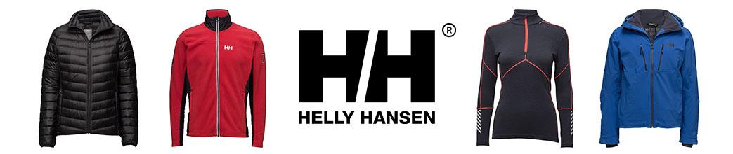 Dunjakke, fleecetrøje, undertrøje og skaljakke samt Helly Hansen logo