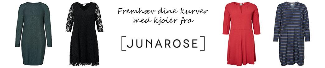 Fire Junarose kjoler, logo og tekst