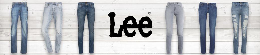 Seks par jeans samt Lee logo på baggrund af træ