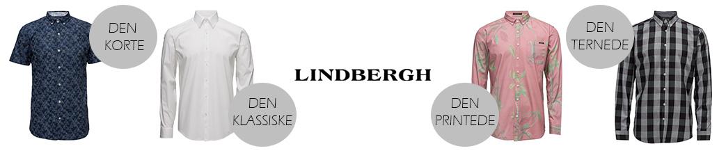 Fire forskellige skjorter og Lindbergh logo på hvid baggrund