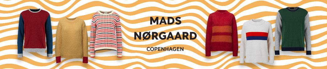 Mads Nørgaard striktrøjer og logo på gul og hvid baggrund
