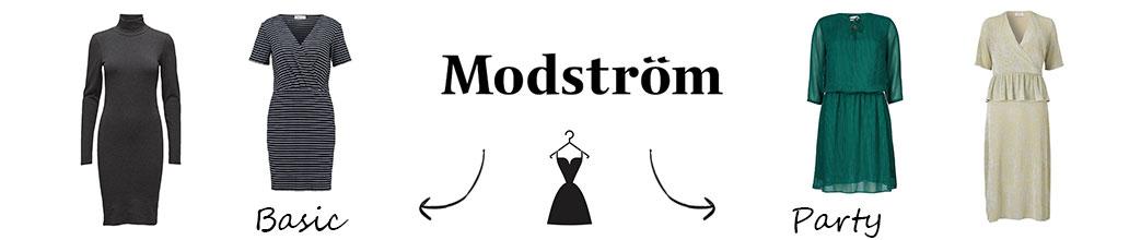 To basic kjoler og to party kjoler samt logo fra Modström