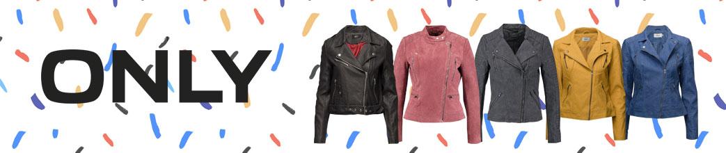 ONLY logo og læderjakker i forskellige farver på mønstret baggrund