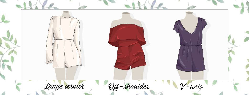 Playsuits med lange ærmer, off-shoulder og v-hals
