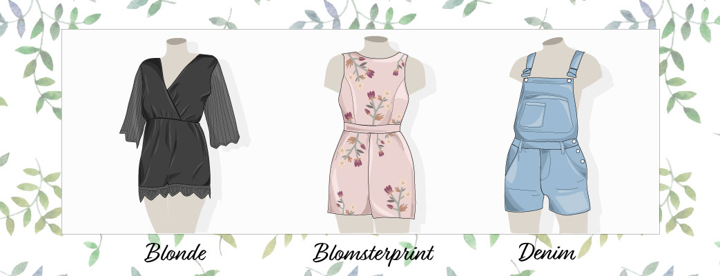 Playsuits i blonde, blomsterprint og denim