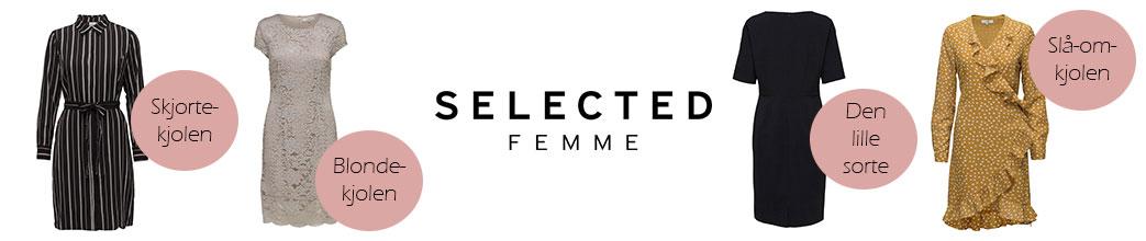 Fire kjoler samt logo fra Selected Femme