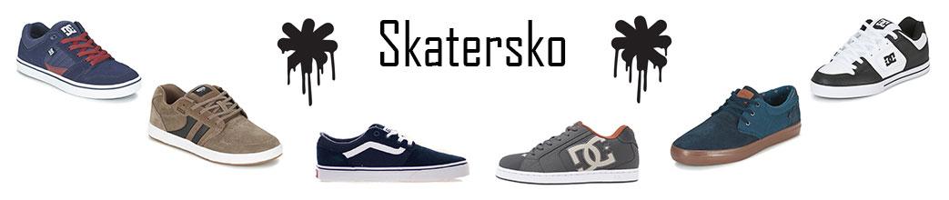 Skatersko i forskellige farver på hvid baggrund med tekst og graffiti