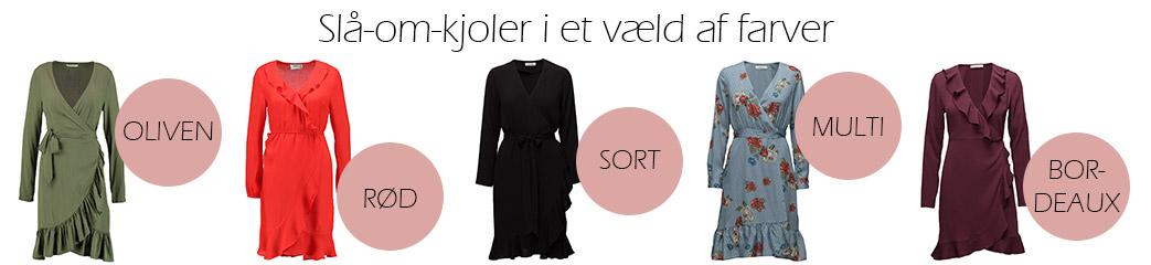 Slå-om-kjoler i forskellige farver med lyserøde cirkler og tekst