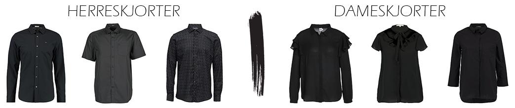 Tre sorte skjorter til herrer og tre sorte skjorter til damer