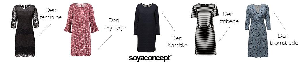 Forskellige kjoler fra Soyaconcept med tekst på hvid baggrund