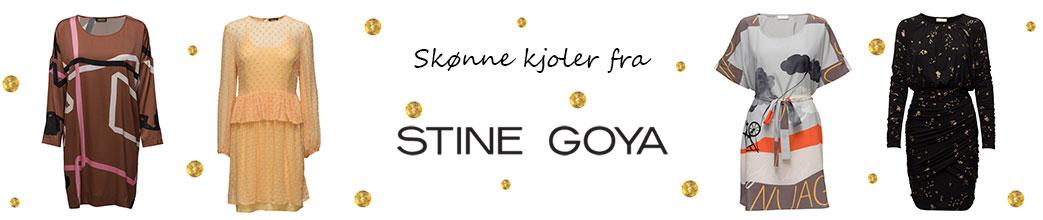 Fire kjoler, Stine Goya logo og guldprikker