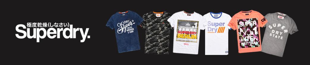 Superdry logo og seks T-shirts på sort baggrund