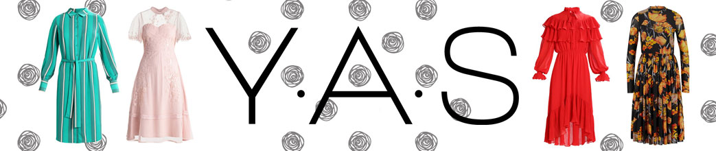 YAS logo og kjoler på hvid baggrund med små sorte roser