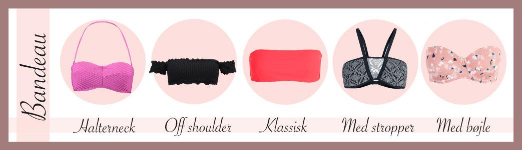 Forskellige bandeau bikinier med forklarende tekst og lyserød grafik