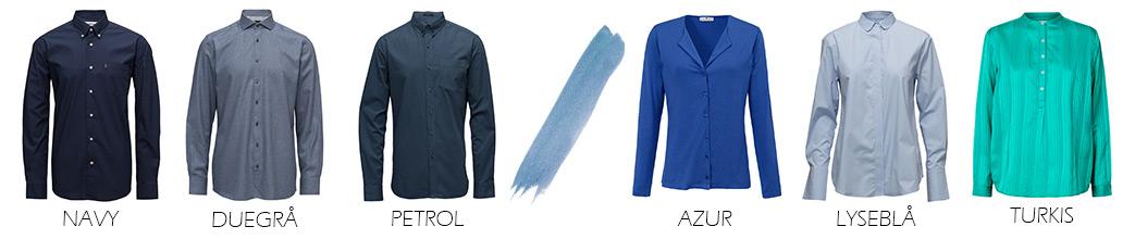 Herre- og dameskjorter i forskellige blå nuancer